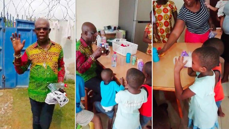 Beelden uit het filmpje van Stephen Oduro in een weeshuis in Ghana, eind 2018, waar hij MMS bereidt en verstrekt aan de kinderen. Beeld -