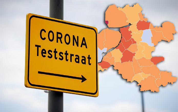Wegwijzer naar de Corona teststraat in plaatsje Dronten.