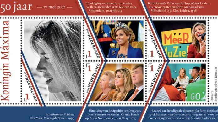 Koningin Máxima krijgt ter ere van haar 50ste verjaardag op 17 mei een eigen postzegel. Ook haar man, koning Willem-Alexander, kreeg zo'n postzegel toen hij 50 jaar werd. Het postzegelvel 'Koningin Máxima 50 jaar' telt vijf zegels. Volgens PostNL krijgt het een opvallende indeling doordat de postzegel met het zwart-witportret van de koningin twee keer zo groot is als de postzegels met de kleurenfoto's. De postzegels worden doorsneden met smalle, geknikte lijnen in de kleuren van de Nederlandse vlag.