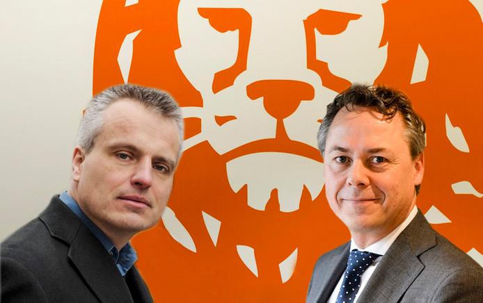 Joris Luyendijk en ING-topman Ralph Hamers (fotomontage AD)
