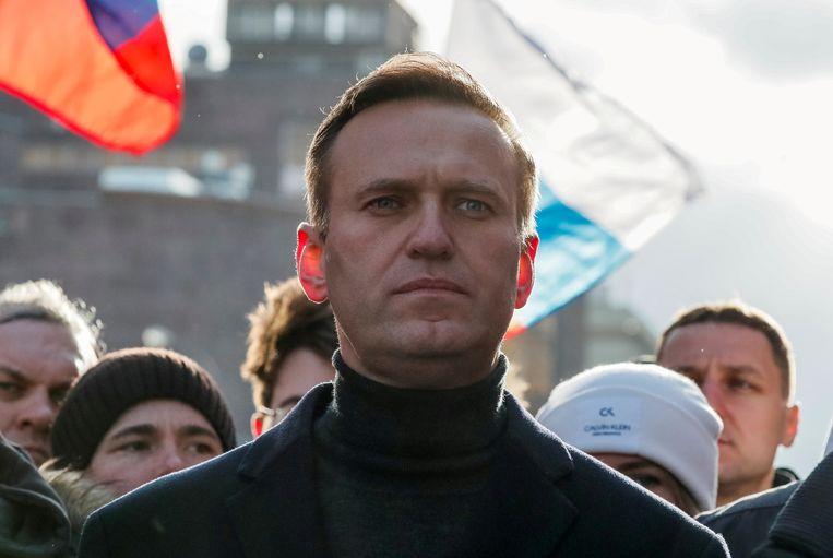 Alexei Navalny leidt in februari 2020 nog een bijeenkomst van de oppositie in Moskou.  Beeld Reuters