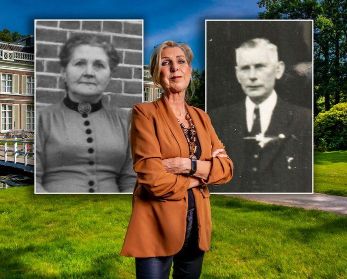 Jolande van Gorssel bij het Arnhemse landhuis waar na de oorlog een bijzondere rechtbank was gevestigd. Hier werd haar oma tot zeven jaar gevangenisstraf veroordeeld wegens verraad.