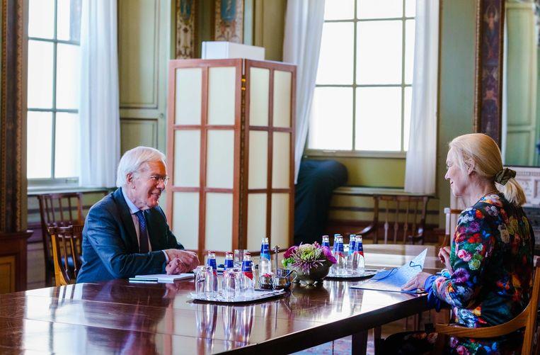 D66-leider Sigrid Kaag werd vrijdag ontvangen door informateur Herman Tjeenk Willink. 'We staan weer op punt nul.'  Beeld Marco de swart/ANP