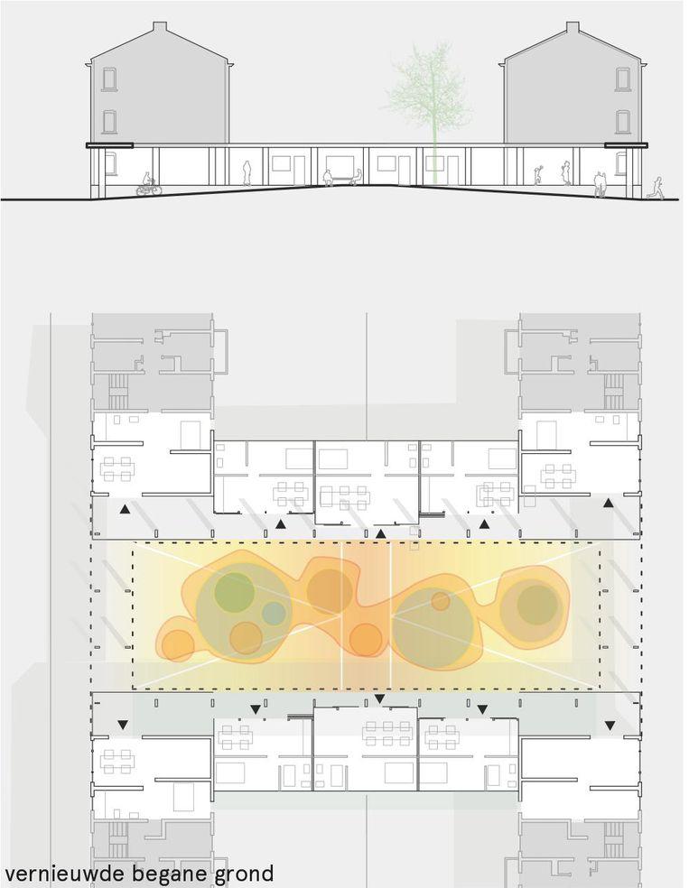 Het plan van bureau Diederendirrix bevat een groene ruimte en een gezamenlijke keuken. Beeld de Volkskrant