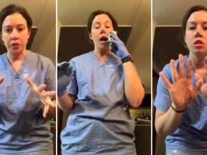 Une infirmière montre à quelle vitesse le virus peut se propager, même en portant des gants