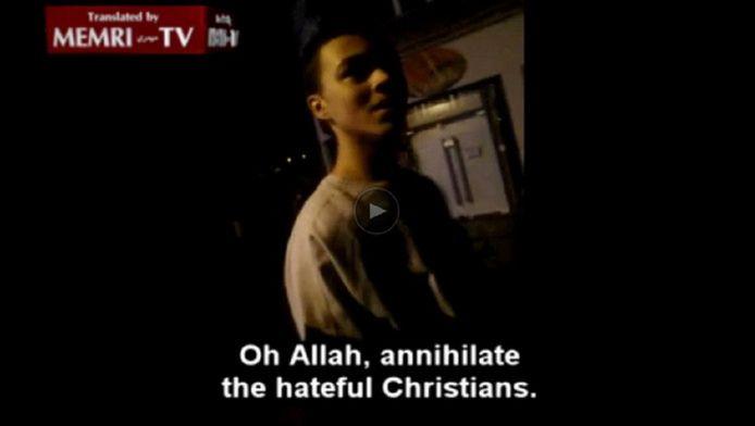 de zoon van 'haatimam' El Alami Amaouch riep in het filmpje op tot het doden van christenen.