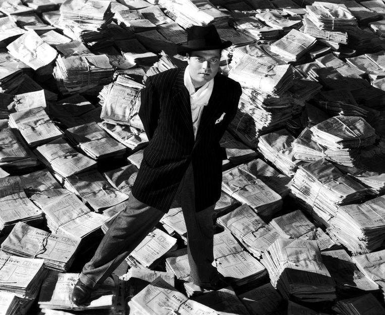 Acteur en regisseur Orson Welles poseert as Charles Foster Kane in a scène in de film Citizen Kane, in 1941.  Beeld Getty