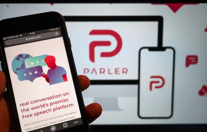 Logo van de omstreden app Parler.
