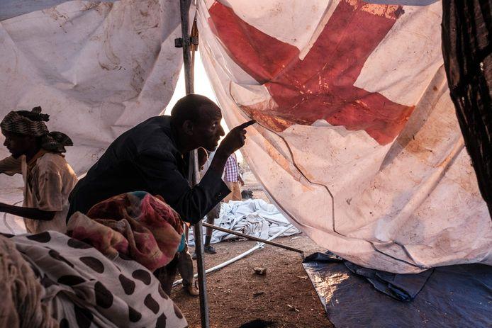 Een vIuchtelingenkamp bij Chagni in Ethiopië.