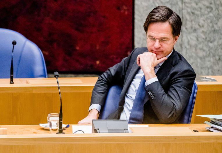 Demissionair Premier Mark Rutte tijdens een debat over het aftreden van het kabinet naar aanleiding van de toeslagenaffaire. Beeld ANP