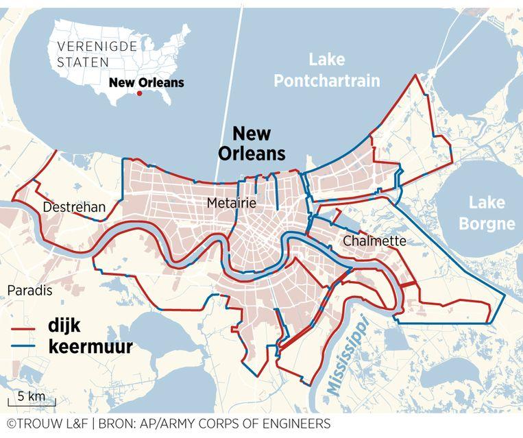 Het systeem van dijken en keermuren dat na Katrina is aangelegd en versterkt in en rondom New Orleans. Beeld Louman & Friso