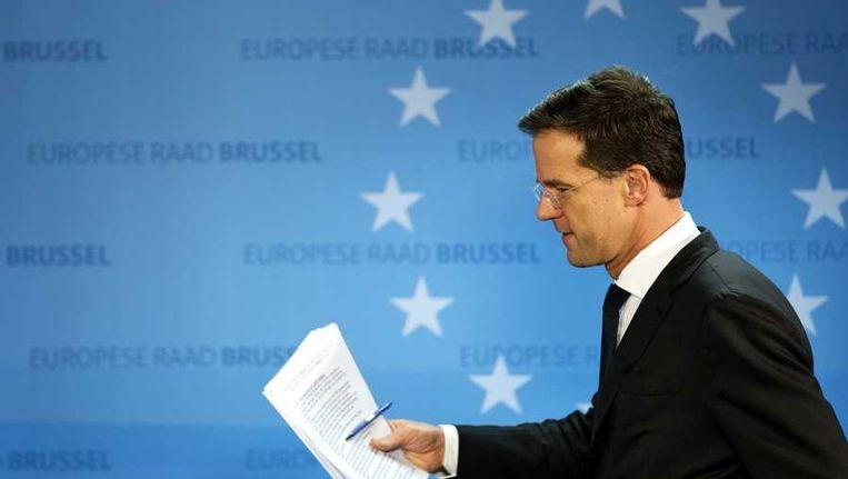 Premier Mark Rutte tijdens de afsluitende persconferentie op de tweede dag van de laatste Europese top in Brussel voor dit jaar. Beeld anp
