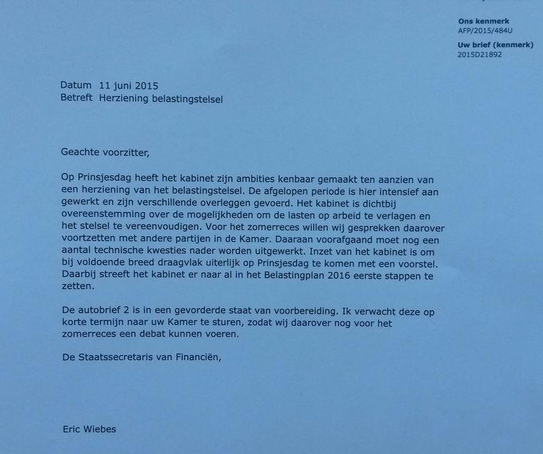 De brief van staatssecretaris Eric Wiebes (Financiën) Beeld .