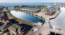 Het gaat om bebouwing op het terrein tussen de havens en het Dolfinarium. In afwachting daarvan kan er nu geparkeerd worden.