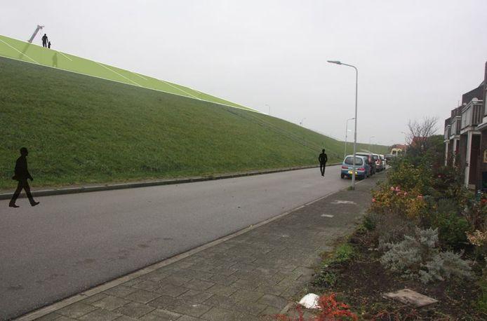 Impressie van de geplande dijkverhoging (het lichtgroene gedeelte) bij Hansweert.