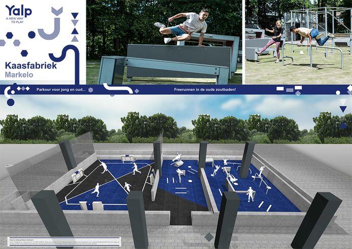 Links het interactieve sportveld en rechts het freerunningparcours in de zoutbaden van de voormalige kaasfabriek