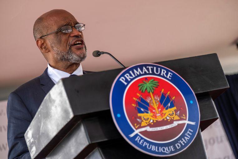 De nieuwe premier van Haïti Ariel Henry tijdens zijn inauguratie dinsdag in de hoofdstad Port-au-Prince. Beeld REUTERS