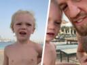 Conor McGregor en zijn zoontje in Dubai.
