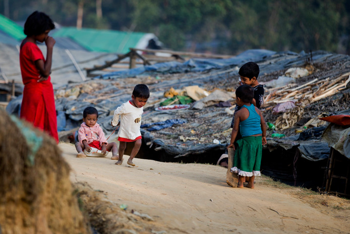 Rohingya kinderen in Ukhiya, Bangladesh.