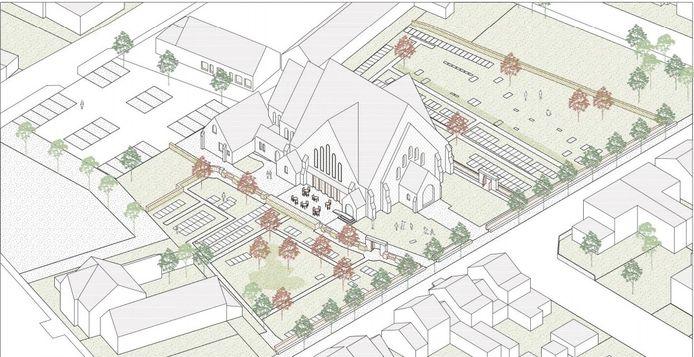 Een bovenaanzicht van de plannen voor de kerk. Er zal een verdieping worden bijgebouwd.
