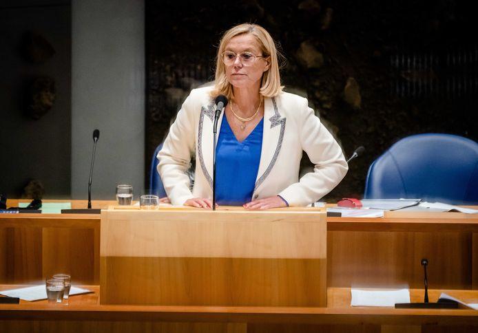 Demissionair Minister Sigrid Kaag van Buitenlandse Zaken (D66) tijdens het debat in de Tweede Kamer over de situatie in Afghanistan.