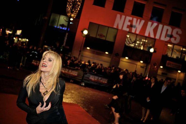 Kim Holland  op de rode loper bij de première in Eindhoven van de nieuwe film  New Kids Nitro van producent Reinout Oerlemans. © ANP Beeld