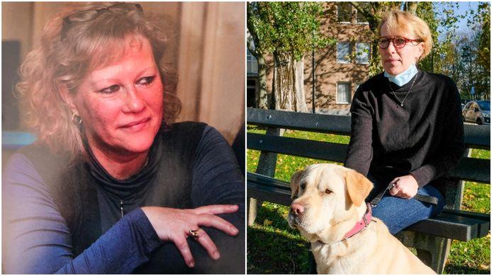 """Nathalie Sirre nam Biggie, de hond van haar overleden zus Martine (links) in huis. """"Ze was dol op dieren."""""""