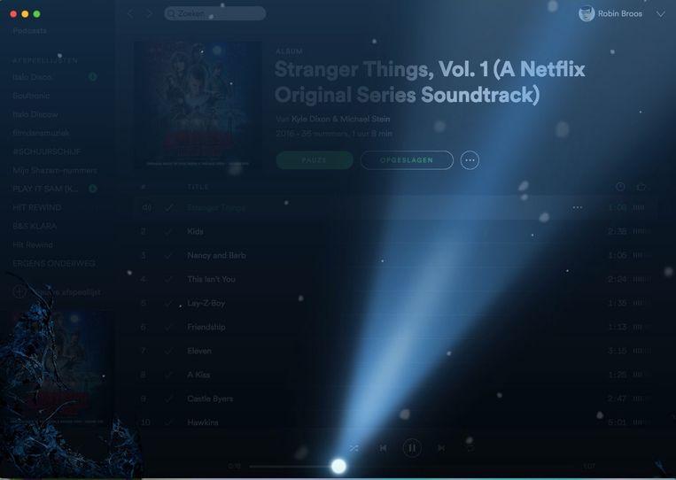 Spotify laat haar computerprogramma transformeren in The Upside Down, telkens je een soundtrack-album van 'Stranger Things' beluistert. Beeld RV