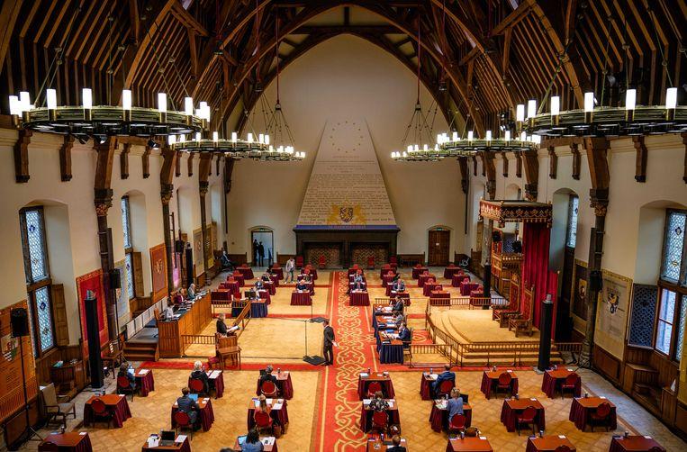 Het coronadebat, waarvoor de Kamer is teruggekomen van het zomerreces, vindt plaats in de Ridderzaal, vanwege de verbouwing van de Tweede Kamer.  Beeld ANP