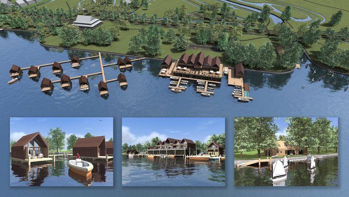Artist impression van een boathouse met lodges