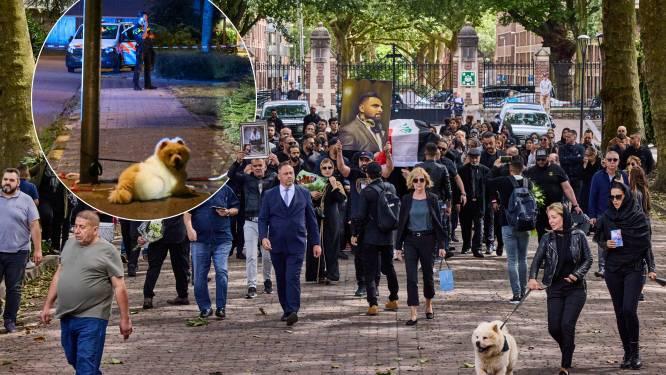Trouwe hond Esco begeleidt rouwstoet van zijn doodgeschoten baas Wisam (37) naar het graf