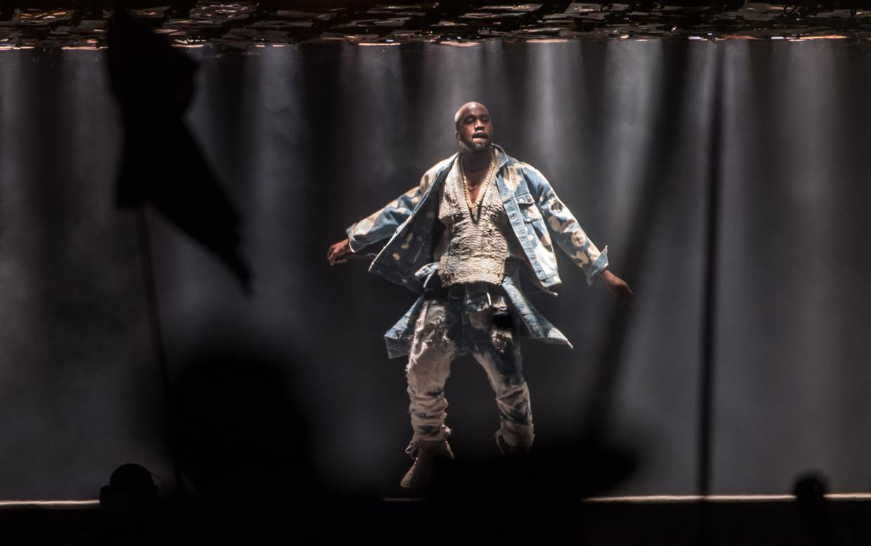 Kanye West op Glastonbury, 2015 Beeld Getty Images