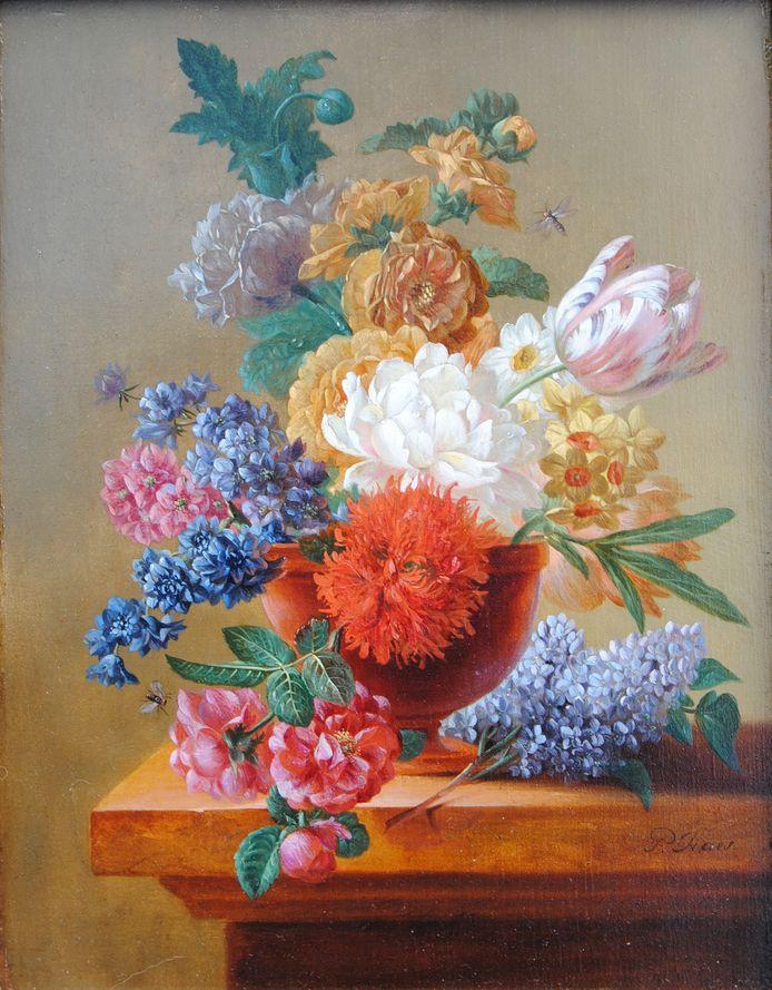 Een detailbeeld van het schilderij.