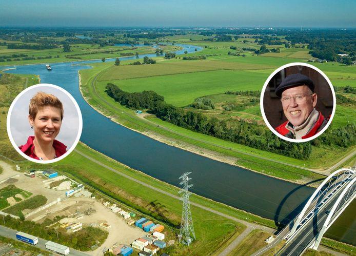 Het Waterschap Rijn&IJssel en IJsselwind zetten ondanks een recente uitspraak van de Raad van State hun plannen door om drie nieuwe windmolens te plaatsen in dit gebied tussen Zutphen en Eefde. Links: Antoinet Looman (waterschap) op de plek waar ongeveer een windmolen van het waterschap moet komen. Rechts: Maarten Delen (IJsselwind) op de plek waar ongeveer één van de twee molens van IJsselwind moet komen.