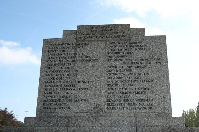 Het monument op het kerkhof van Aarsele ter nagedachtenis van de slachtoffers van de vliegtuigramp op 2 oktober 1971.