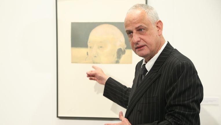 Luc Tuymans bij de opening van een tentoonstelling in La Louvière Beeld BELGA