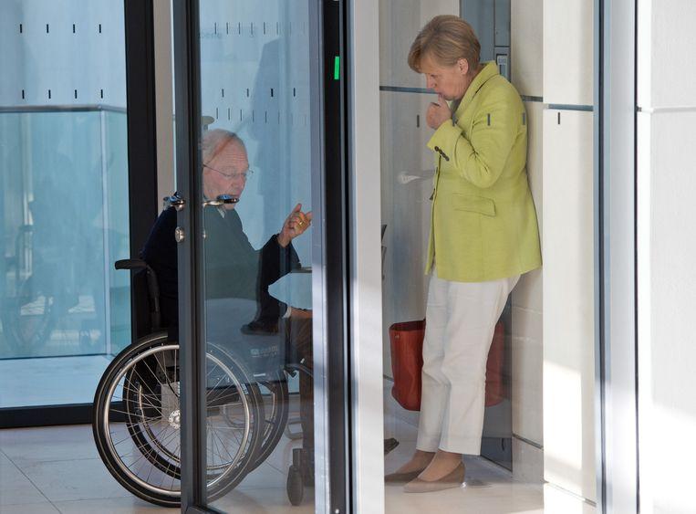 Schäuble met bondskanselierMerkel, 2014. Beeld ANP