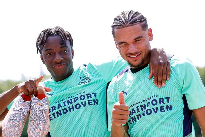 Noni Madueke en Armando Obispo liggen allebei tot medio 2025 vast in Eindhoven.