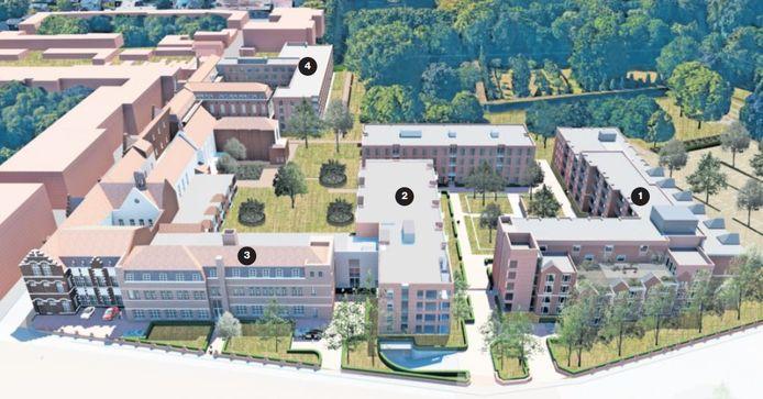 Vogelvlucht van het kloostercomplex van de Zusters van Liefde na de afronding eind 2021. Voor de gevels aan de Kloosterstraat met de te renoveren westvleugel (1), de nieuwe blokken met luxere appartementen (2) en  het hoofdkantoor van Van der Weegen (3). De nieuwe verpleeghuisvleugel, aan de kant van de Oude Dijk (4), is recent opgeleverd.