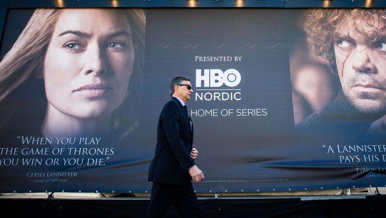 Een reclamepaneel voor seizoen 5 van Game of Thrones. De reeks is slachtoffer van haar eigen succes. Beeld BELGA