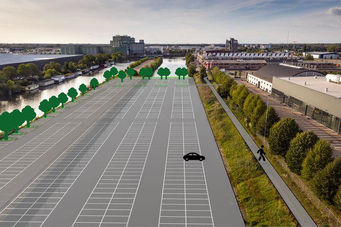 De landtong naast de Brabanthallen (rechts). Het eerste deel moet een parkeerplaats voor 900 auto's worden, het water tussen landtong en Brabanthallen wordt gedempt. Het achterste deel van de landtong (daar waar ongeveer de bomenrij begint) moet een park worden.