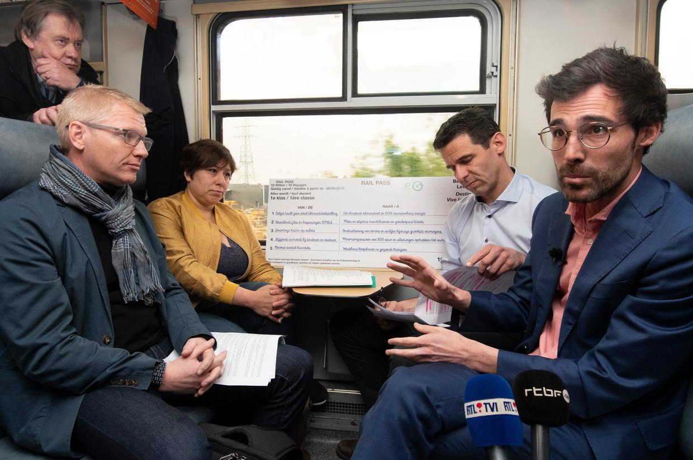 Georges Gilkinet (Ecolo), Meyrem Almaci (Groen), Jean-Marc Nollet (Ecolo) en Kristof Calvo (Groen). Beeld Photo News