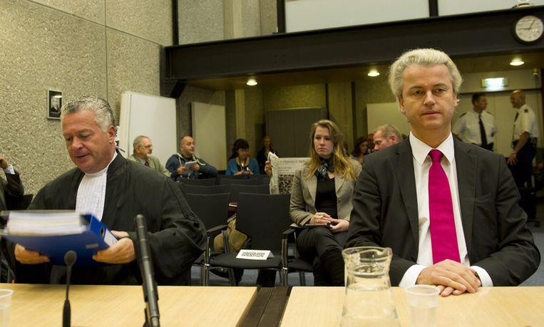 Wilders en zijn advocaat Moscowicz. Beeld