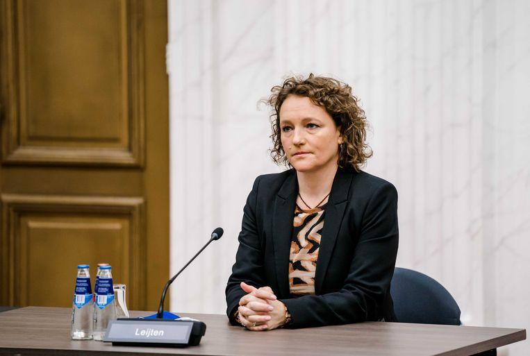 Renske Leijten (SP) tijdens de presentatie van het eindverslag van de parlementaire ondervragingscommissie Kinderopvangtoeslag.  Beeld ANP