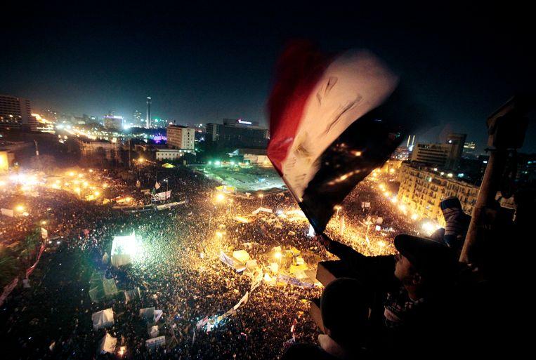 Het iconische Tahrirplein, waar tien jaar geleden het protest begon. Beeld AP