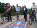 Ruben Segers (schepen Mobiliteit Oud-Turnhout), Gilles Bultinck (burgemeester Vosselaar), Rommy Swinnen (schepen Mobiliteit Beerse) en Marc Boogers (schepen Mobiliteit Turnhout)