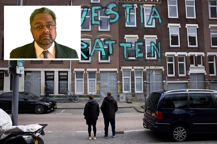 De Tweebosbuurt in Rotterdam-Zuid. Foto-inzet: VN-rapporteur Balakrishnan Rajagopal