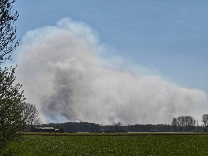 Grote brand in Belgisch natuurgebied net over de grens bij Zundert, brandweer zet blushelikopters in