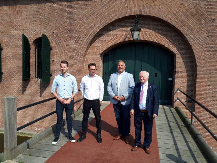 De wethouders in de gemeente Geertruidenberg: Kevin van Oort, Mike Hofkens, John van Vugt en Adriaan de Jongh.
