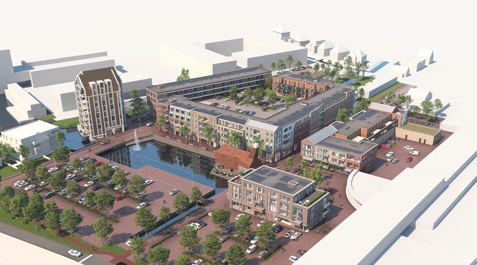 De 17 appartementen in Alluvium, de woontoren links, zijn onder optie verkocht. Brinkhof, het woonblok in het midden, is dinsdag in de verkoop gegaan.